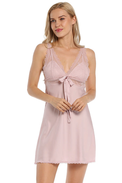 Satin Lace Full Slip Chemise Silk Nightgown Sleepwear - EconomicShopping