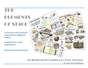 The Elements of Stage Handbook is a 60 page print your own supplement to Stagecraft Posters. The digital files are designed for visual presentations and contains quick quizzes and fast facts.