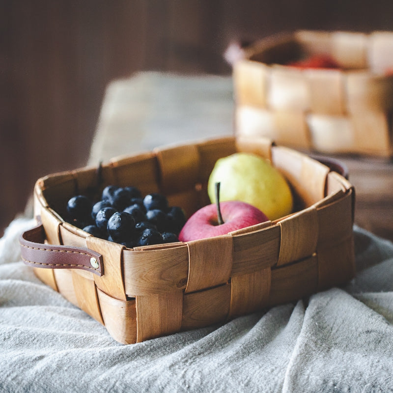 Handmade Japanese Style Wood-Woven Fruit and Vegetable Basket Food Storage Box - inno+ home-innoplus kitchen