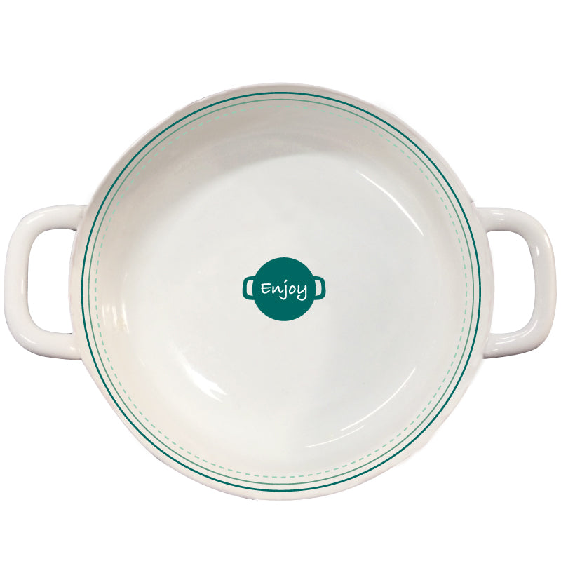 Japanese Style Ceramic Porcelain Double Handle Serving Bowl - inno+ home-innoplus kitchen