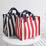 Eco-Friendly Strip Canvas Shopping Bag Large Size - inno+ home-innoplus kitchen