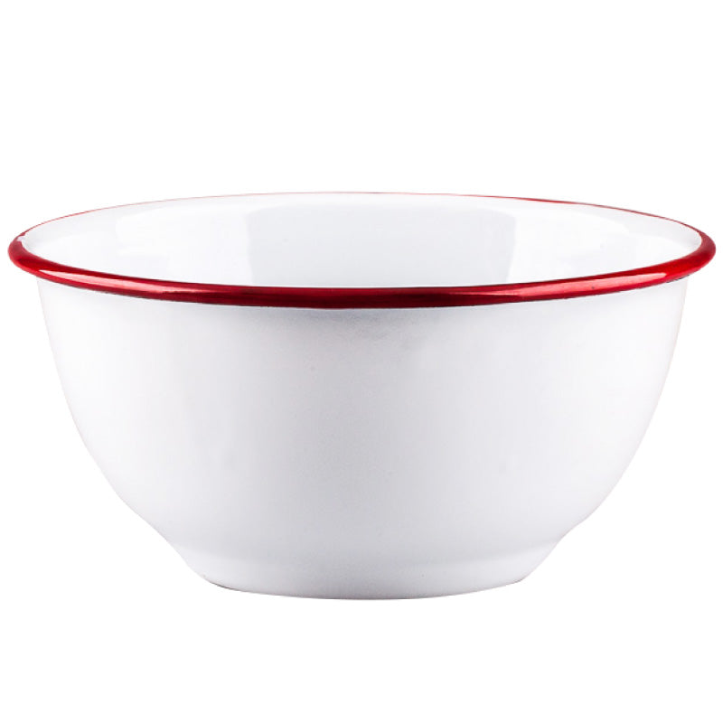 Vintage Style White Enamel Mixing Bowl with Red Trim - inno+ home-innoplus kitchen