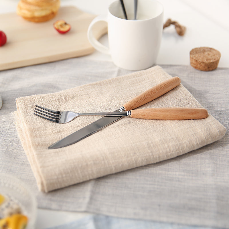 Wooden Handle Cutlery Set Stainless Steel Plated Silver Knife Fork 4 Pcs Set - inno+ home-innoplus kitchen