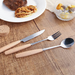 Wood Handle Cutlery Set Stainless Steel Plated Silver Knife Fork 4 Pcs Set - inno+ home-innoplus kitchen