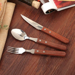 Wooden Handle Cutlery stainless steel cutlery 3pcs Classic Retro West - inno+ home-innoplus kitchen