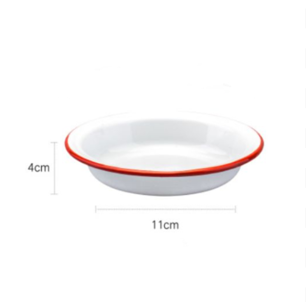 Enamel Dinner Deep Plates White With Blue/Red Rim - inno+ home-innoplus kitchen
