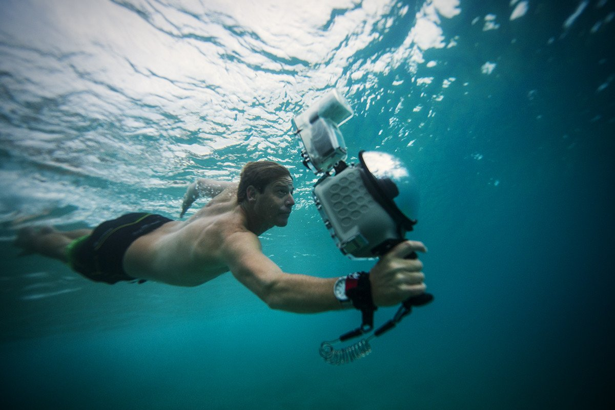 AquaTech water proof flash housing being used underwater