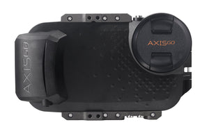 iPhone water housing with lens cap on - AxisGO