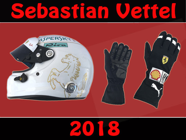 Sebastian Vettel 2018 F1 Replica Helmet & F1 Racing Gloves