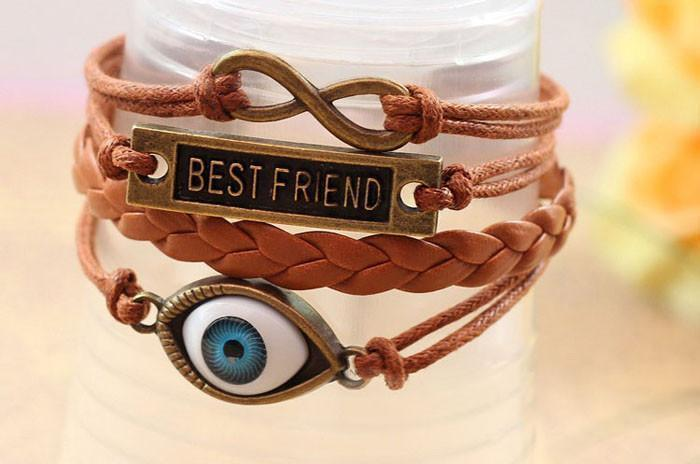 Best Friend Hemp Rope Antique Leather Pendant Bracelet - Odacali Bracelets