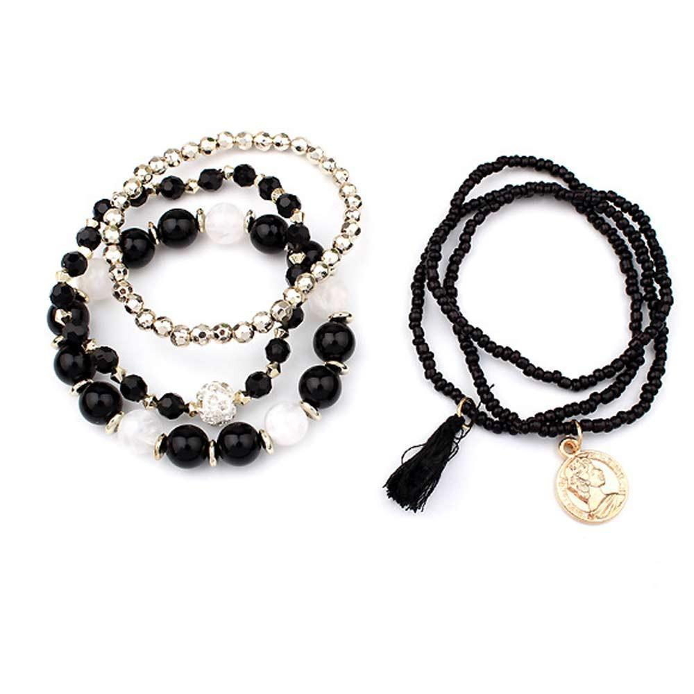 Women Multilayer Beads Bangle Tassels Bracelets Beige - Odacali Bracelets