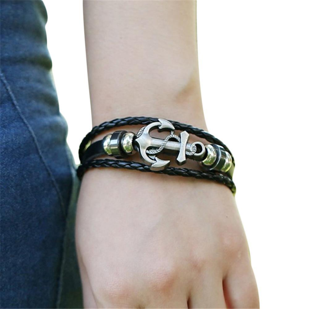Men's Anchor Design Alloy Leather Bracelet - Odacali Bracelets