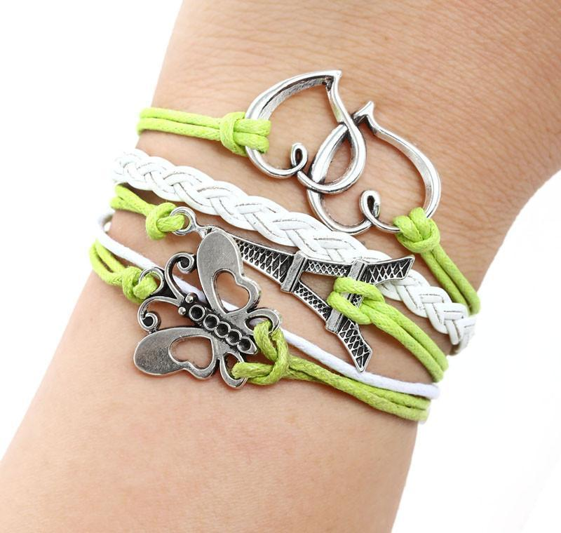 Butterfly Tower Knit Green Leather Charms Bracelet - Odacali Bracelets