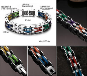 Silicone Stainless Steel Rainbow Color Bracelet - Odacali Bracelets