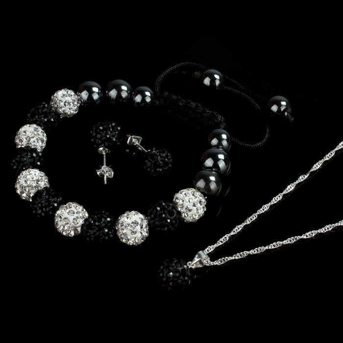 Crystal Ball Jewelry Shamballa Bracelet Earrings Necklace Set - Odacali Bracelets