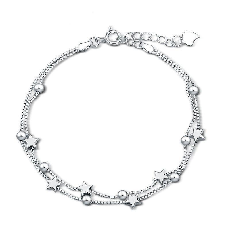 Silver Star and Bead Charms Bracelet - Odacali Bracelets
