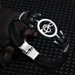 Stainless Steel Musical Design Genuine Leather Bracelet - Odacali Bracelets