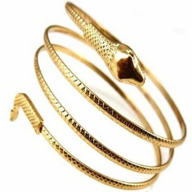 Charm Coiled Spiral Upper Arm Cuff Bangle Bracelet - Odacali Bracelets