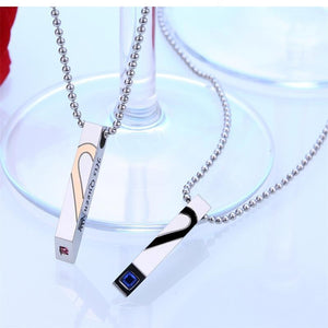 Couples Heart Shape Pendant Necklace - Odacali Bracelets