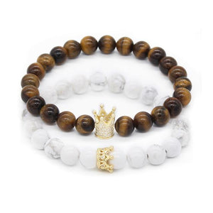 King & Queen Crown Couple Bracelets - Odacali Bracelets