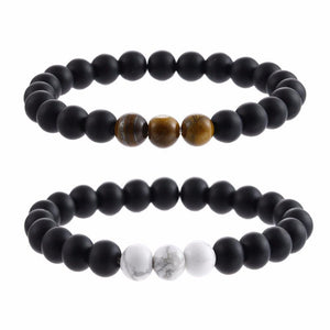 Natural Sub-Black Gravel Yoga Couple Beads Bracelet - Odacali Bracelets