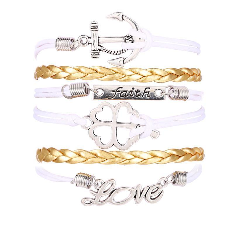 Clover Love Anchor Multilayer Knit Leather Rope Charm Bracelet - Odacali Bracelets