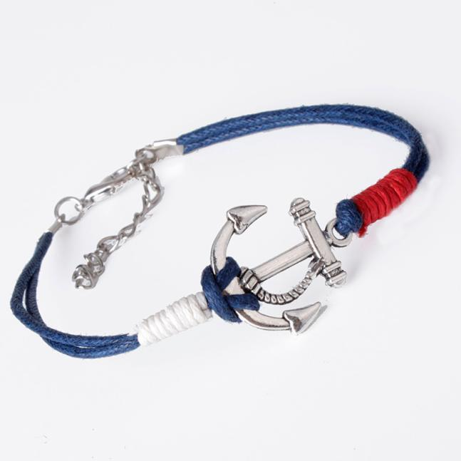 New Charm Silver Anchor Multilayer Rope Braided Bracelet - Odacali Bracelets