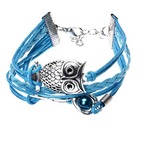 Owl Pearl Heart Handmade Leather Braid Fashion Bracelet - Odacali Bracelets