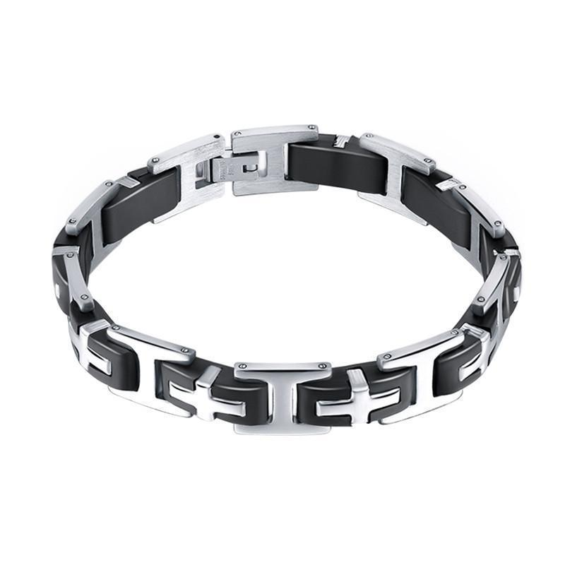 Stainless Steel Cross Design Link Chain Bracelet - Odacali Bracelets