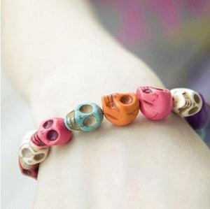 Exquisite Color Gem Skull Tibet Buddhist Beads Bracelet - Odacali Bracelets