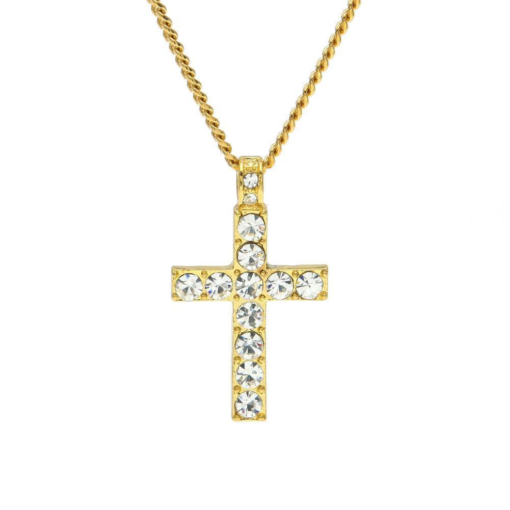 Odacali Bracelets Gold / one-size Jewelry Bling Rhinestone Crystal Cross Pendant Necklace