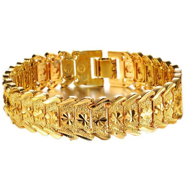 Gold Plated Noble Men's Women's Bracelets New Design Bangle Wrist Chain - Odacali Bracelets