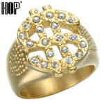 Iced Out Bling Dollar Sign Gold Ring - Odacali Bracelets