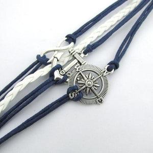 Infinity Love Anchor Compass Leather Charm Bracelet - Odacali Bracelets