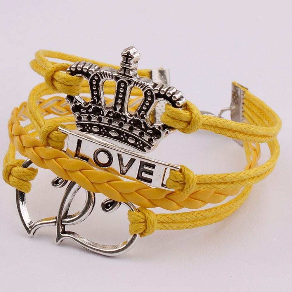 Infinity Love Anchor Leather Crown Charm Bracelet - Odacali Bracelets