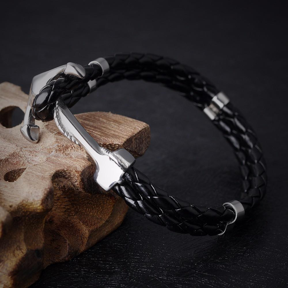 Leather Anchor Bracelet - Odacali Bracelets