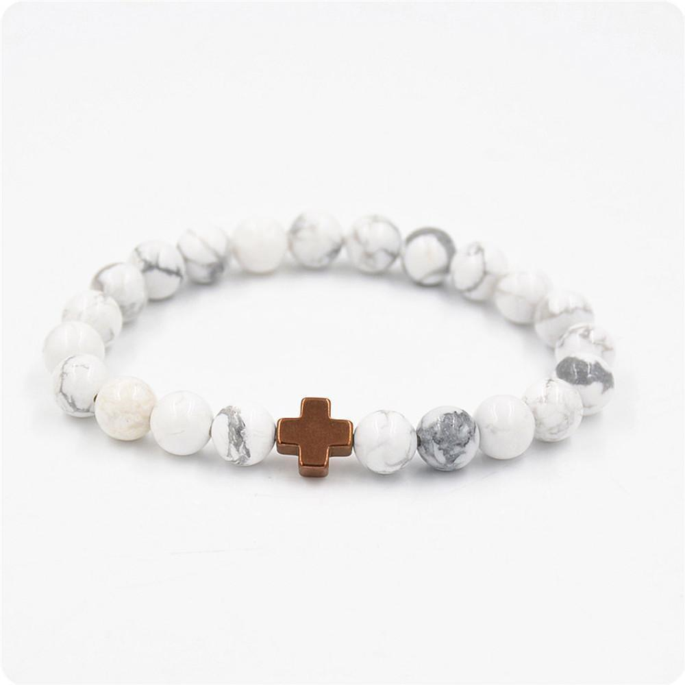 Beads Jewelry Lava Gallstone Cross Bracelet - Odacali Bracelets