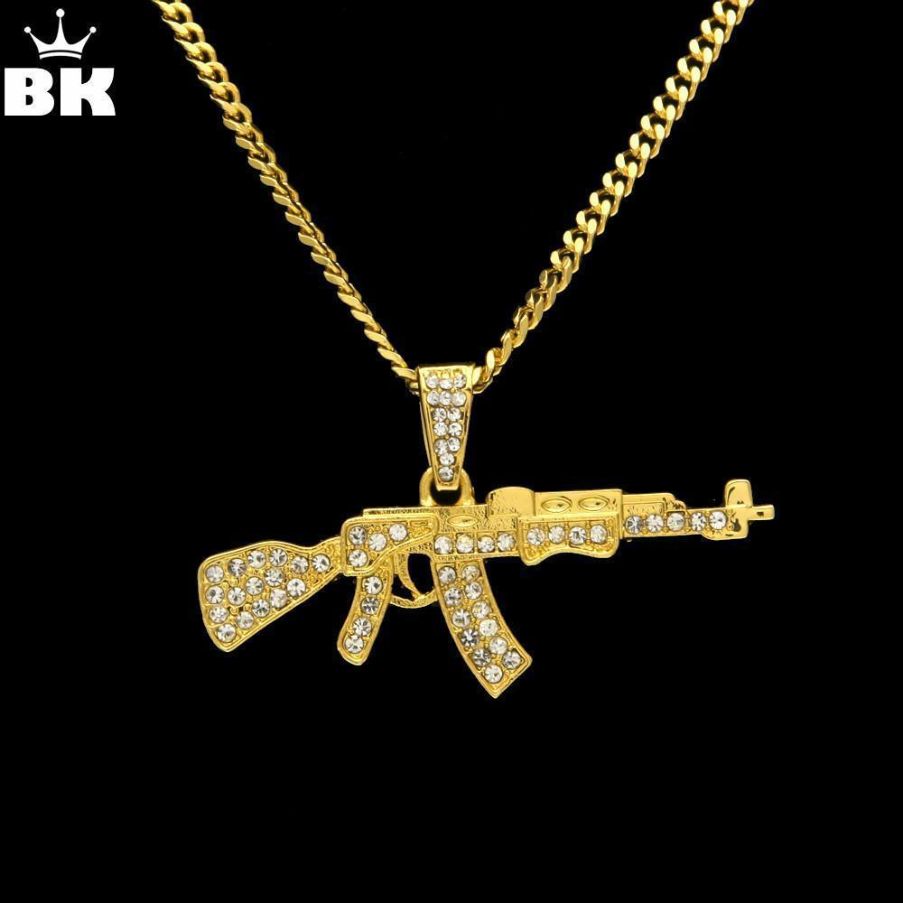 Alloy AK47 Gun Pendant Necklace Iced Out Rhinestone Necklace - Odacali Bracelets