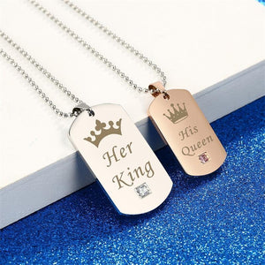 Couple Stainless Steel Tag Pendant Necklace - Odacali Bracelets