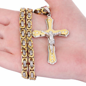 Jesus Cross Crystal Pendant Necklace - Odacali Bracelets