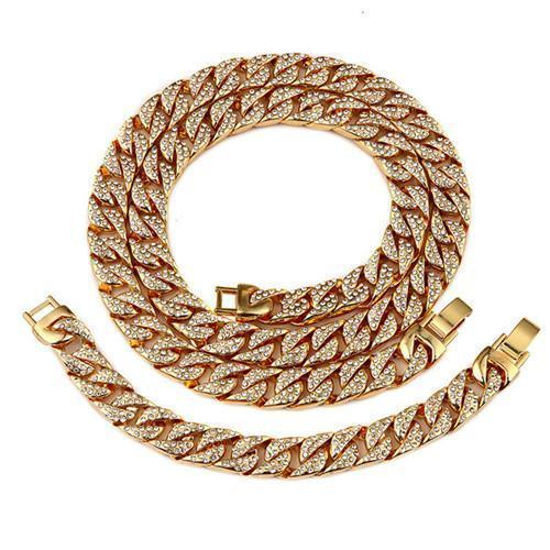 Golden Bling Miami Cuban Set - Odacali Bracelets