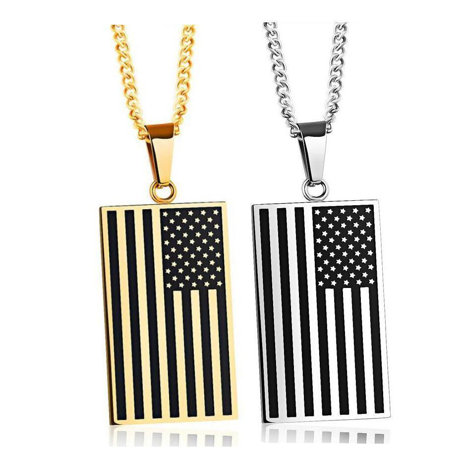US Flag Stainless Steel Necklace - Odacali Bracelets