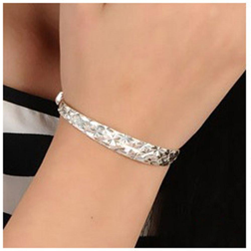 New Fashion Sterling Silver Charm Bangle Bracelet - Odacali Bracelets
