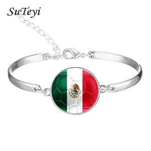 Charms Glass Dome Nation Flag Bracelet - Odacali Bracelets