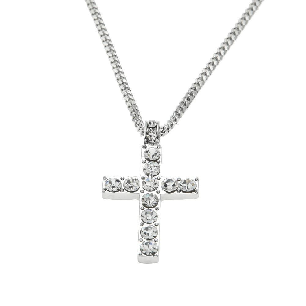 Odacali Bracelets Silver / one-size Jewelry Bling Rhinestone Crystal Cross Pendant Necklace