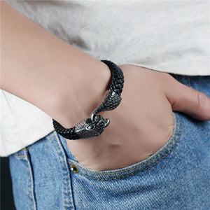 Snake Chain Buckle Stainless Steel Leather Bracelet - Odacali Bracelets