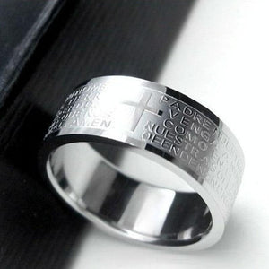Stainless Steel Bible Lord's Prayer Cross Rings - Odacali Bracelets