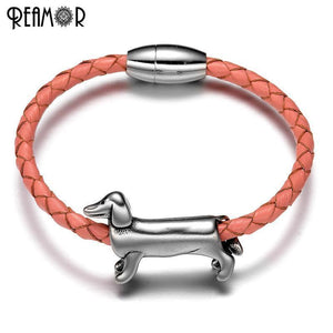 Stainless Steel Dachshund Dog Braided Leather Bracelets - Odacali Bracelets