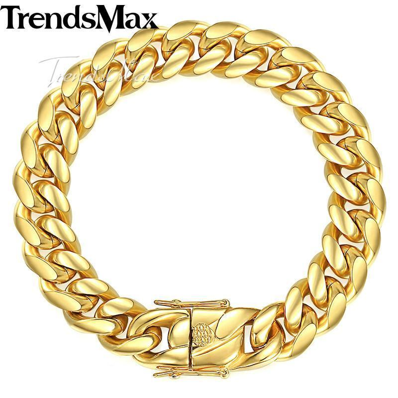 Trendsmax Miami Curb Cuban Mens Bracelet Chain 316L Stainless Steel Hip Hop Silver Gold Color 8/12/14mm 9inch KHBM111 - Odacali Bracelets