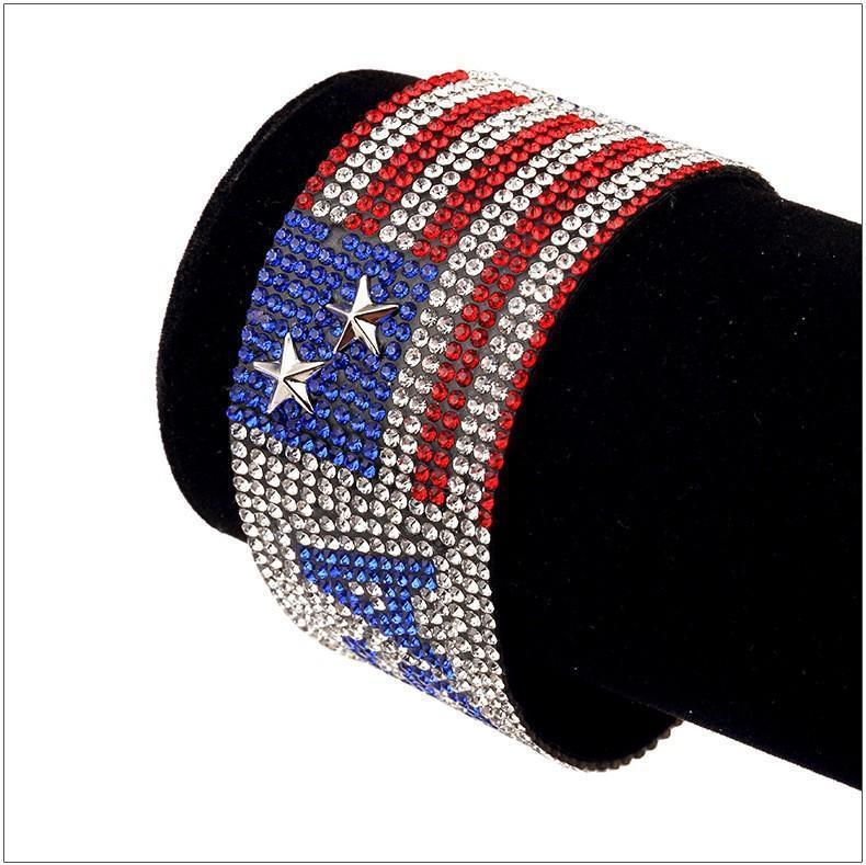 USA Flag Rhinestone Bangle Bracelet - Odacali Bracelets